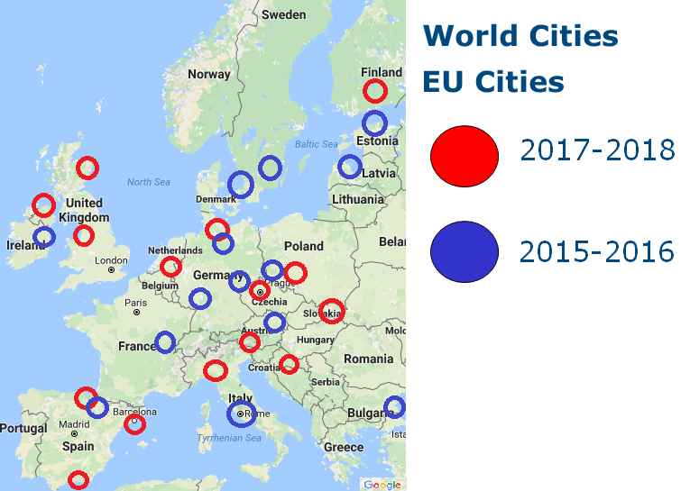 World Cities - EU Cities Map